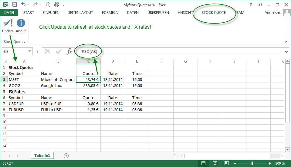 Excel 2016 Stock Quotes: Stock Quote Add-In For Excel 2016 And 2013