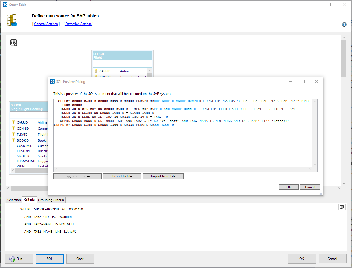 Xtract IS Table Join Query Builder